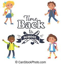 בית ספר, תלמידים, מדבקה, הקף, השקע, זמן