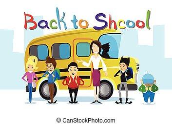 בית ספר, תלמידים, סצ'ולבאס, מעל, השקע, צהוב, חינוך, דגל, מורה