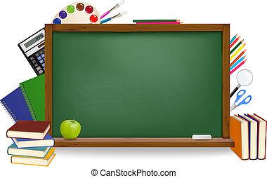 בית ספר, school., השקע, ירוק, עלה, vector., supplies.