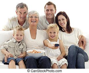 בית, שבבים, להסתכל בטלוויזיה, משפחה אוכלת