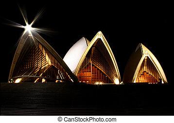 בית של אופרה של סידני בלילה
