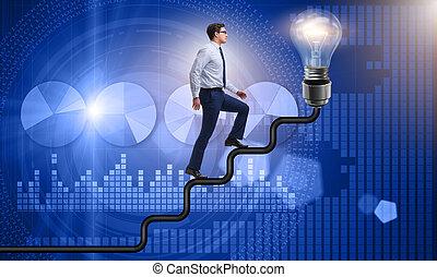 בכיוון, קריירה, אור, סולם, מואר, לטפס, נורת חשמל, איש