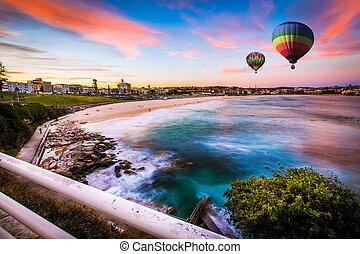 בלון של אוויר חם, מעל, בונדי, החף, ב, קיץ, סידני, חדש דרום וואלאס, אוסטרליה