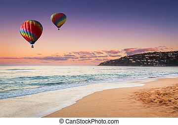 בלון של אוויר חם, מעל, החף, ב, קיץ, חדש דרום וואלאס, אוסטרליה