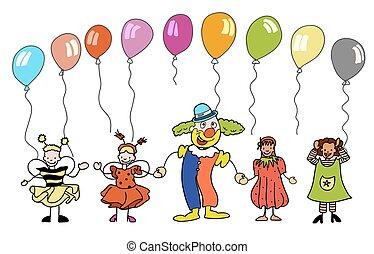 בלונים, צבעוני, ילדים, ליצן, sketched
