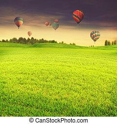 בלונים של אוויר חמים, מעל, ירוק, קיץ, אחו, תקציר, טייל, באקג