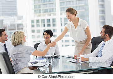 במשך, ידיים, מנהלים, עסק, לזעזע, פגישה