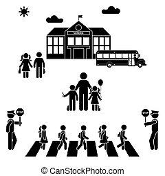 בנין, בית ספר, ללכת, ילדים