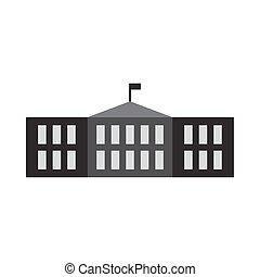 בנין, דירה, בית ספר, דוגמה, וקטור, עצב, איקון