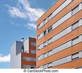 בנין חיצוני, בטון, ו, לבנה, בניה