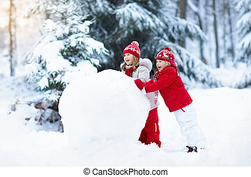 בנין, ילדים, חורף, snow., snowman., fun., ילדים