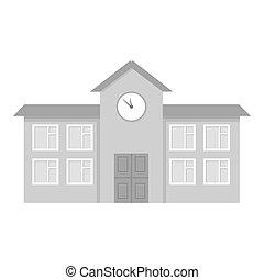 בנין, עיר, בית ספר, תשתית, גדול, יחיד, monochrome., איקון