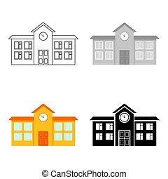 בנין, עיר, בית ספר, תשתית, cartoon., גדול, יחיד, איקון