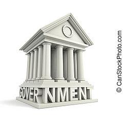 בנין, icon., ממשלה, דוגמה, 3d