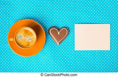 בעלת, a, נחמד, יום, בוקר טוב, עם, כוס של קפה