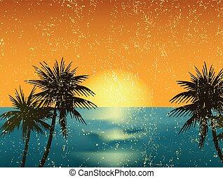 בציר, דוגמה, וקטור, שקיעה, ים, palm.