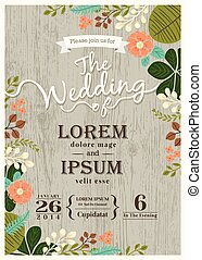 בציר, הזמנה של חתונה, כרטיס, עם, חמוד, פרח, רקע