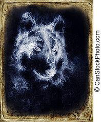 בציר, התפוצץ, דוגמה, רקע., picture., דמות, זאב