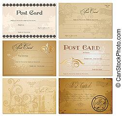 בציר, וקטור, קבע, postcards., טופס
