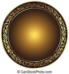 בציר, שחור, סיבוב, זהב, תבנית