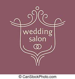 בציר, rings., וקטור, חתונה, לוגו, של כלה, bouquets., סלון