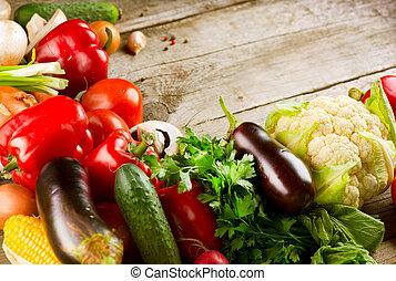 בריא, אורגני, vegetables., ב.י.ו., אוכל