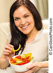 בריא, דמות, אישה אוכלת, סלט