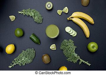 בריא חי, ירוק, אדם חלקלק, עם, פרי, ו, ירקות