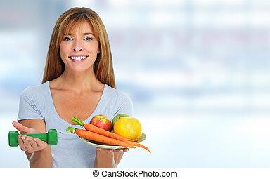 בריא, ירקות, אישה, fruits.