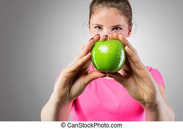 בריא, להראות, אישה, תפוח עץ ירוק