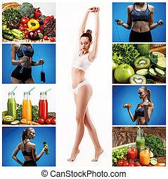 בריא, קולז', אישה, vegetables., צעיר