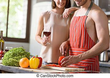 בריא, קשר, אוכל, להתכונן, שמח, לאהוב