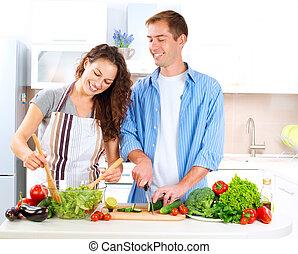בריא, קשר, אוכל של בישול, dieting., ביחד., שמח