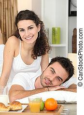 בריא, קשר, להנות, ארוחת בוקר