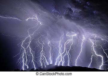 ברק, מעל, ה, rincon, הרים