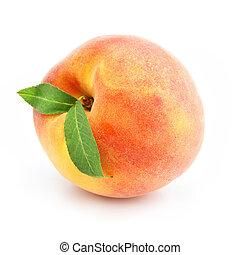 בשל, אפרסק, פרי, עם, ירוק, עלים, הפרד