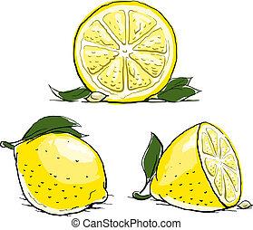 בשל, לימון, עם, leaf., בציר, set.