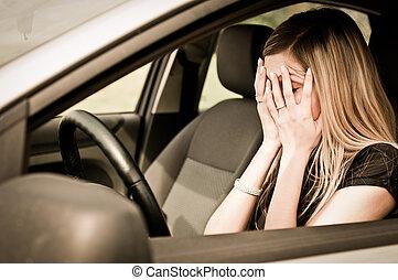 ב, בעיות, -, עצוב, אישה, במכונית