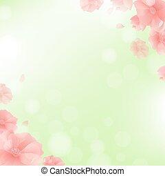 גבול, עם, פרחים, ו, רקע ירוק