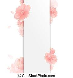 גבול, עם, פרחים, ו, רקע לבן