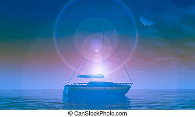 גביש, סירה, עלית שמש