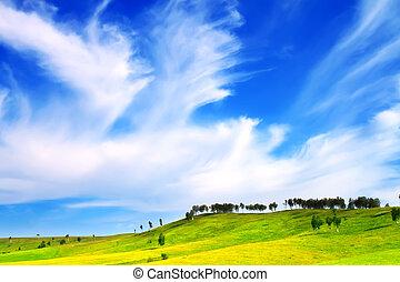 גבעות, וכחול, שמיים
