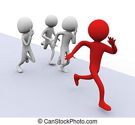 גברים, רוץ, 3d