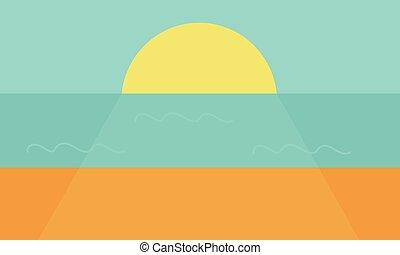 גדול, ים, שמש, השקה, שקיעה, ocean., קובע, זהורית, או