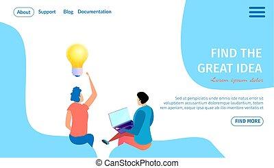 גדול, banner., אור, רעיון, נורת חשמל, אופקי, מצא