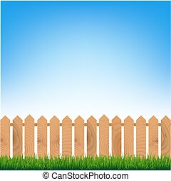 גדר, עם, דשא ירוק, וכחול, שמיים