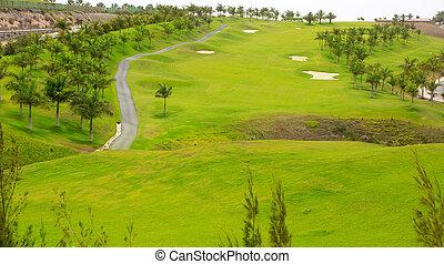 גולף, כאנאריה, ירוק, גראן, דשא, meloneras