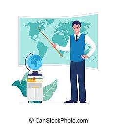 גיאוגראפיה, חינוך, concept., מורה, בית ספר, וקטור