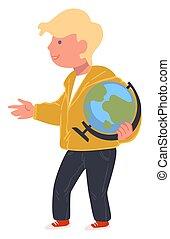 גיאוגראפיה, כוכב לכת, בחור, דגמן, תלמיד, גלובוס, שיעור