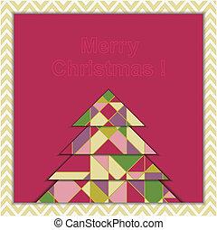 גיאומטרי, עץ, כרטיס של דש, חג המולד